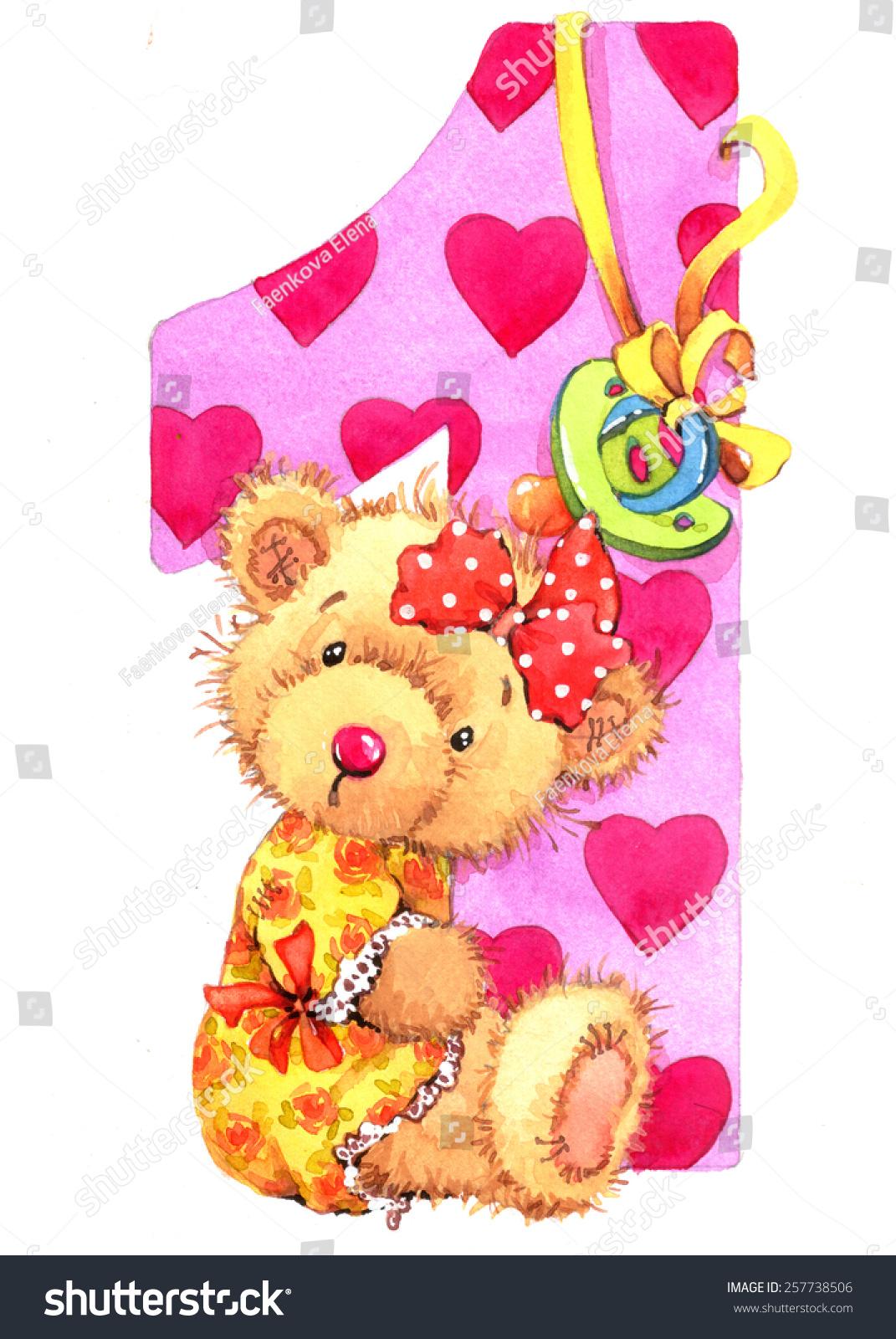 girl teddy bear number one birthdayのイラスト素材 257738506