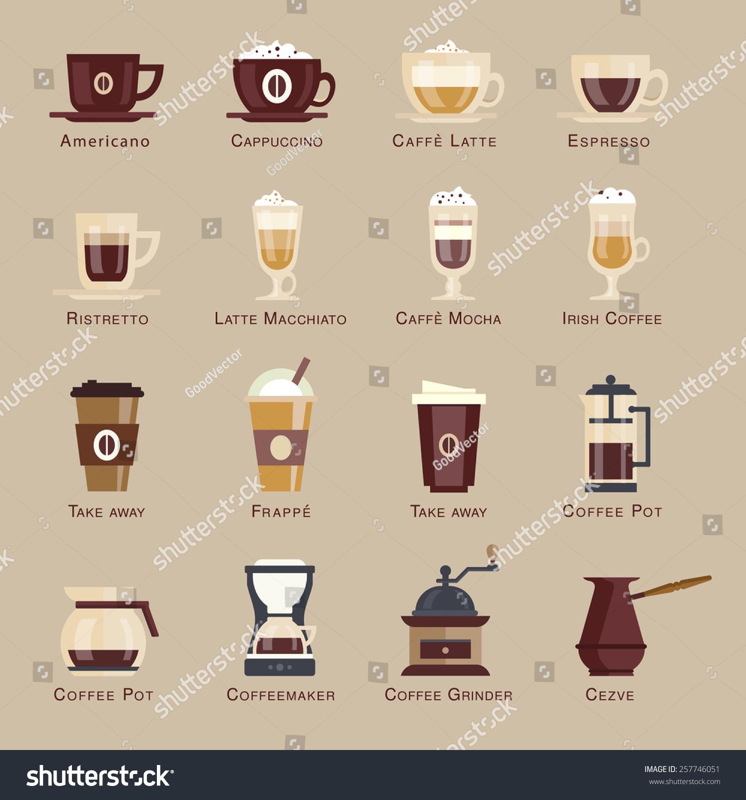 Coffee Vector Icon Set Menu Coffee Stock Vector 257746051
