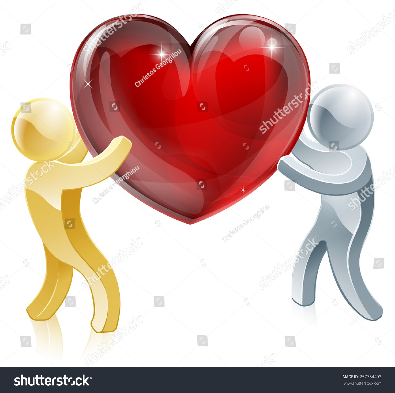 Holding heart love symbol illustration two stock illustration holding heart love symbol illustration of two people mascots holding a big heart biocorpaavc