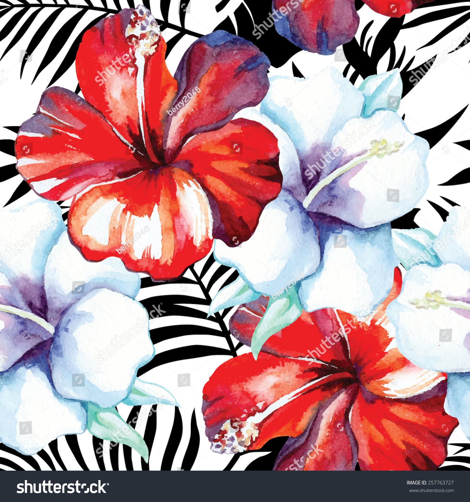 Tropic Flowers Red And White Hibiscus Painting Hand Drawn Watercolor Exotic Floral Hawaiian Seamless Vector