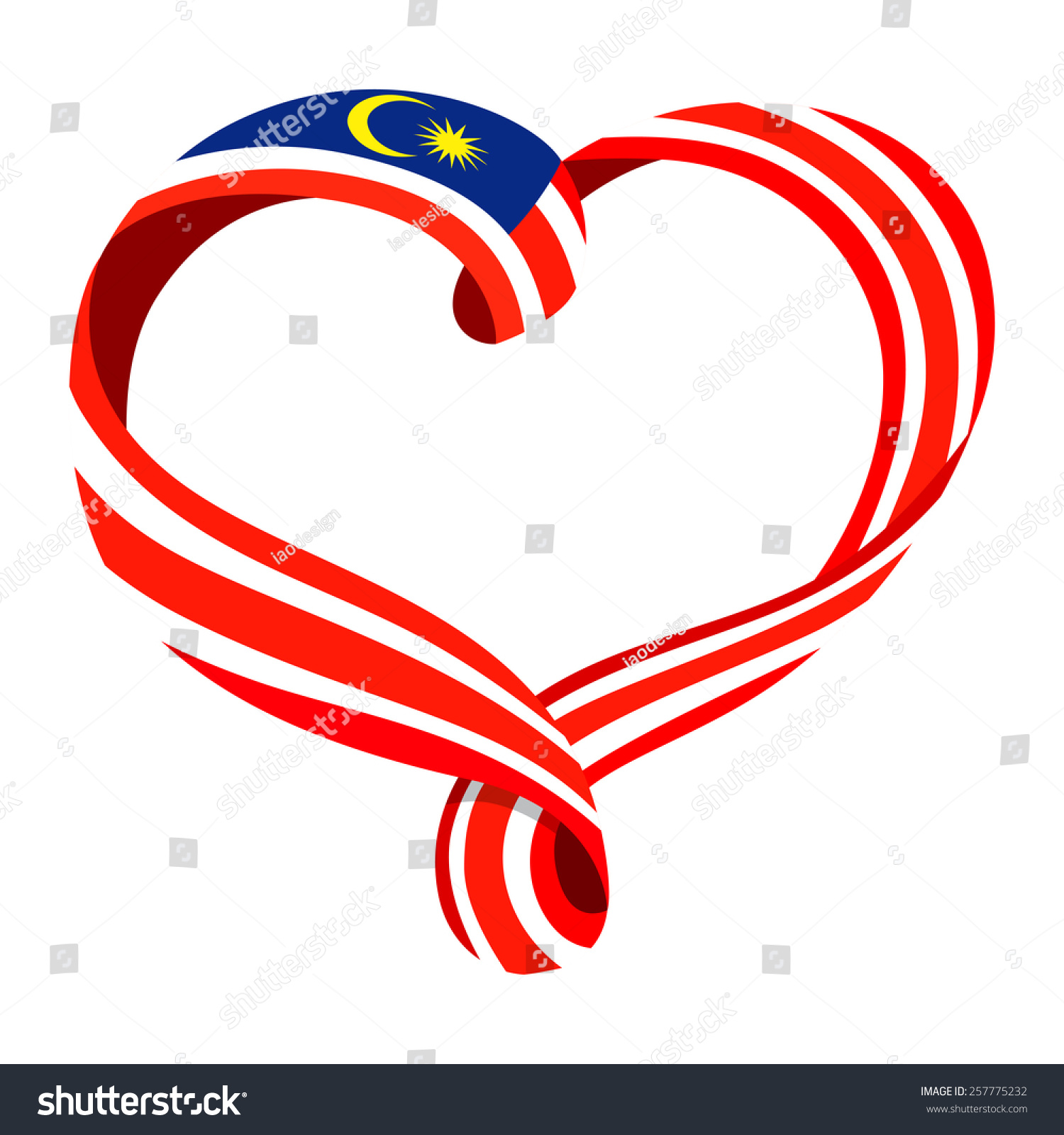 Malaysia Flag Ribbonshaped Heart Symbol Love Stock Vector Royalty