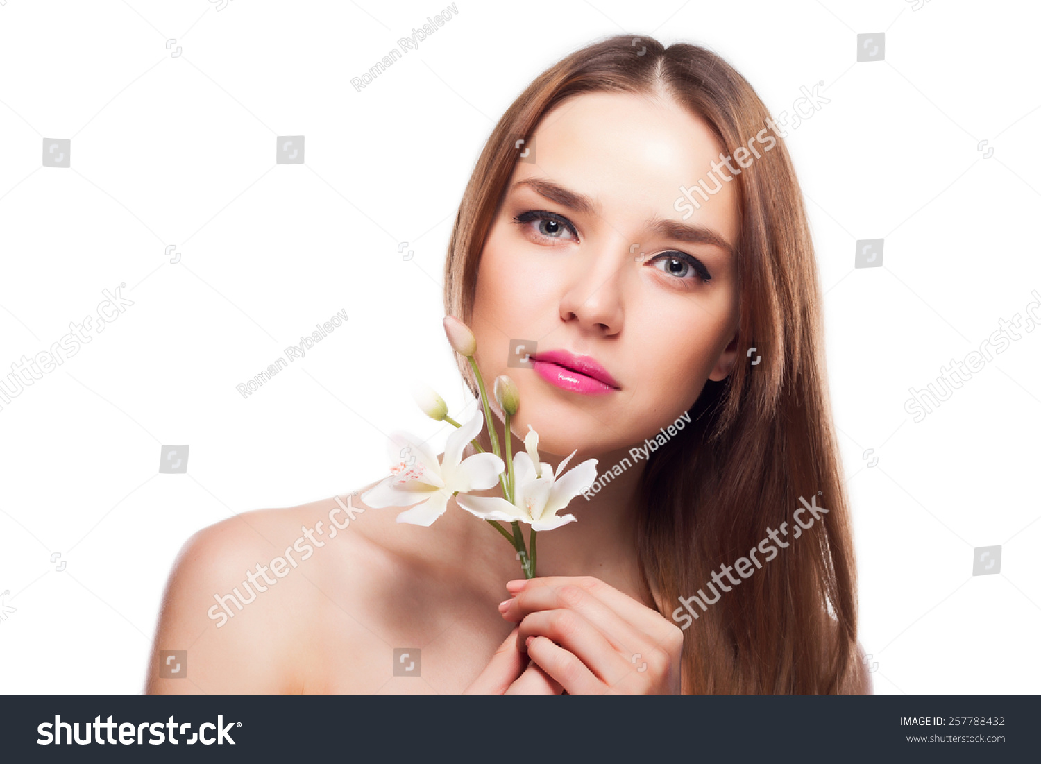 Beauty face young beautiful woman flower stock photo 257788432 beauty face of the young beautiful woman with flower izmirmasajfo Image collections