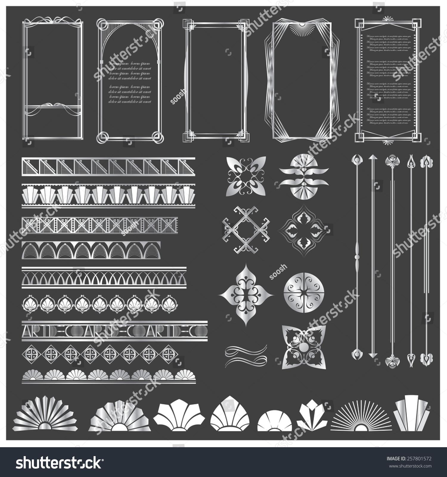 vector illustration set art deco hitech stock vector 257801572 shutterstock. Black Bedroom Furniture Sets. Home Design Ideas