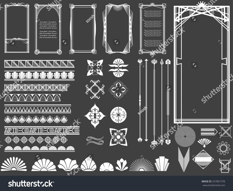 vector illustration set art deco hitech stock vector 257801578 shutterstock. Black Bedroom Furniture Sets. Home Design Ideas