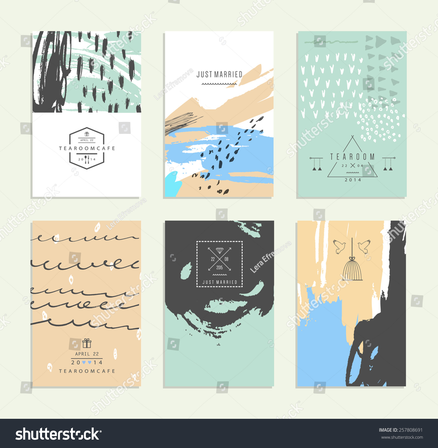 Hand Drawn Collection Romantic Invitations Wedding Stock Vector