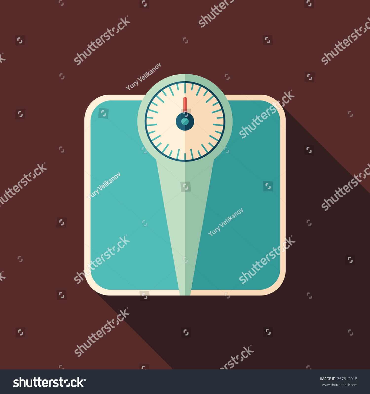 Retro bathroom scales - Retro Bathroom Scales Flat Square Icon With Long Shadows