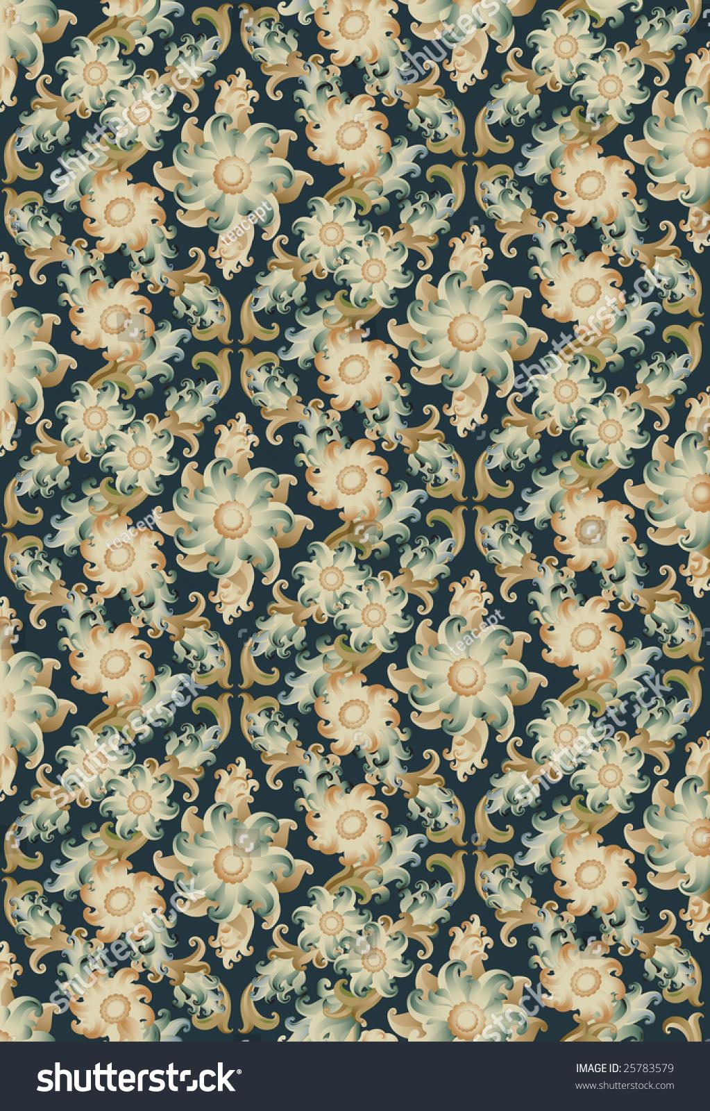 Vintage Floral Wallpaper Vector Stock Vector Royalty Free 25783579