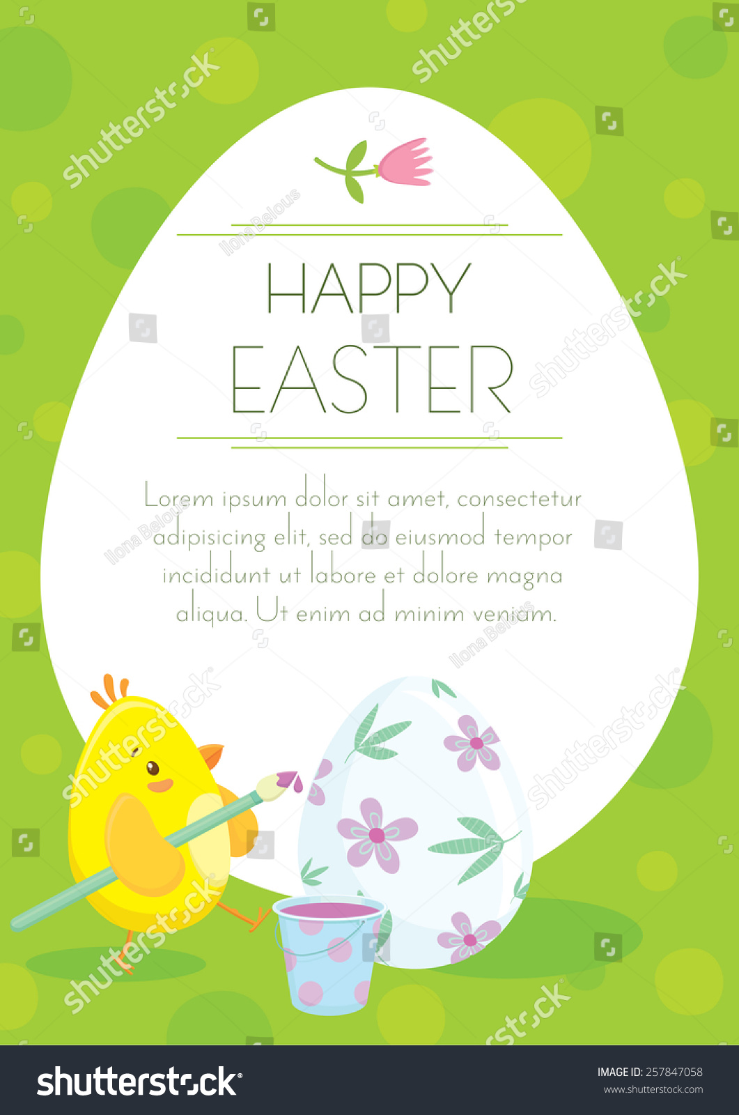 Easter Holiday Greeting Postcard Cute Little Stock Vector Royalty