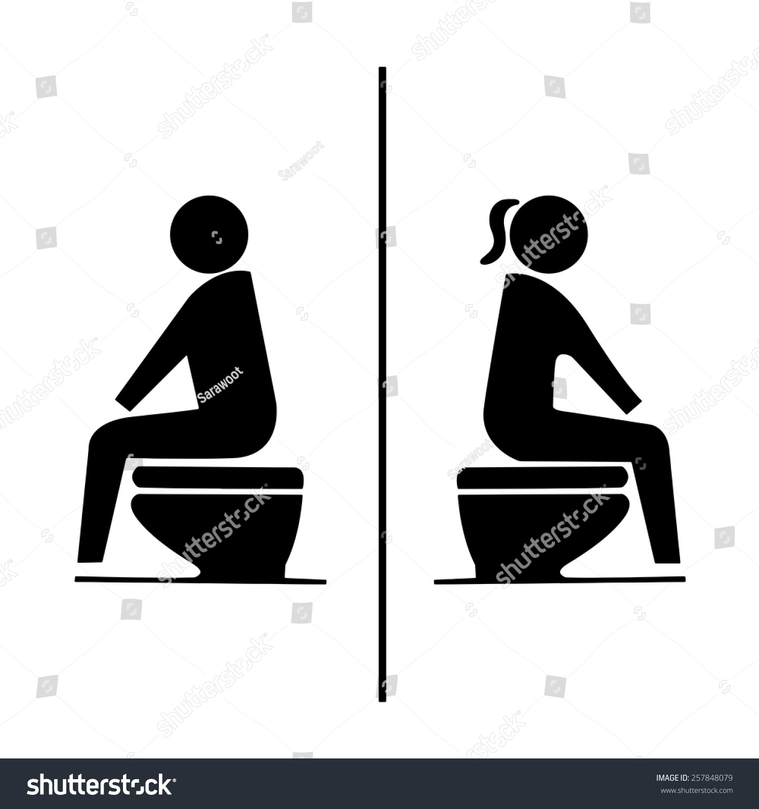 Toilet Sign, Symbol Men And Women Was Sitting On Water Closet In Restroom.