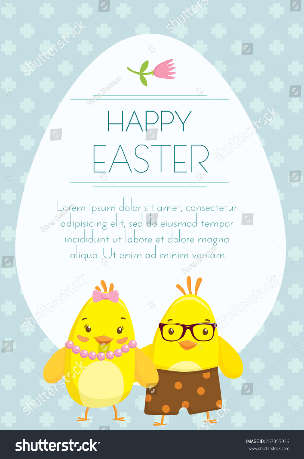 easter holiday greeting postcard with cute little boy and a girl chickens cartoons free space - Holiday Cartoons Free