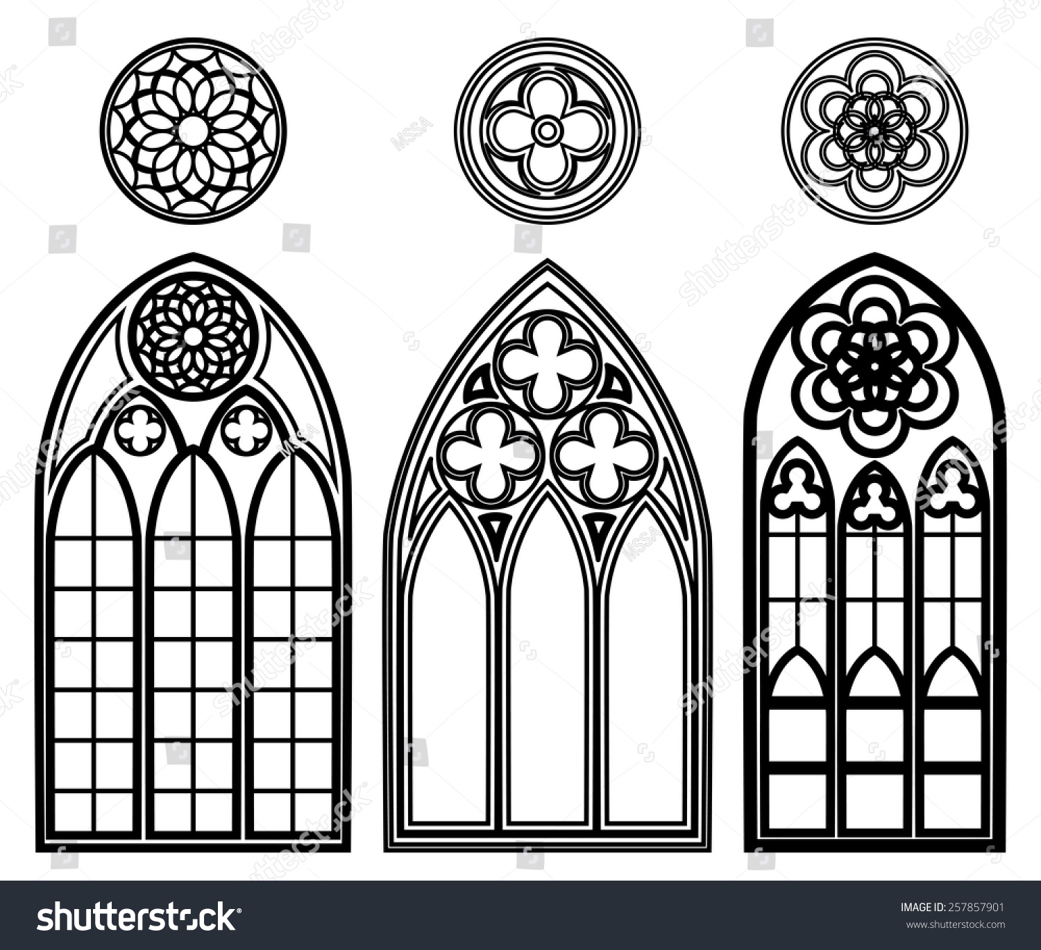 gothic windows cathedrals castles roses elements stock vector
