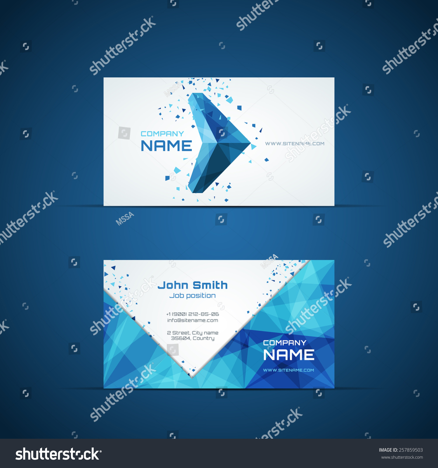 Blue arrow business card template company stock vector 257859503 blue arrow business card template company name and design corporate and symbol vector buycottarizona