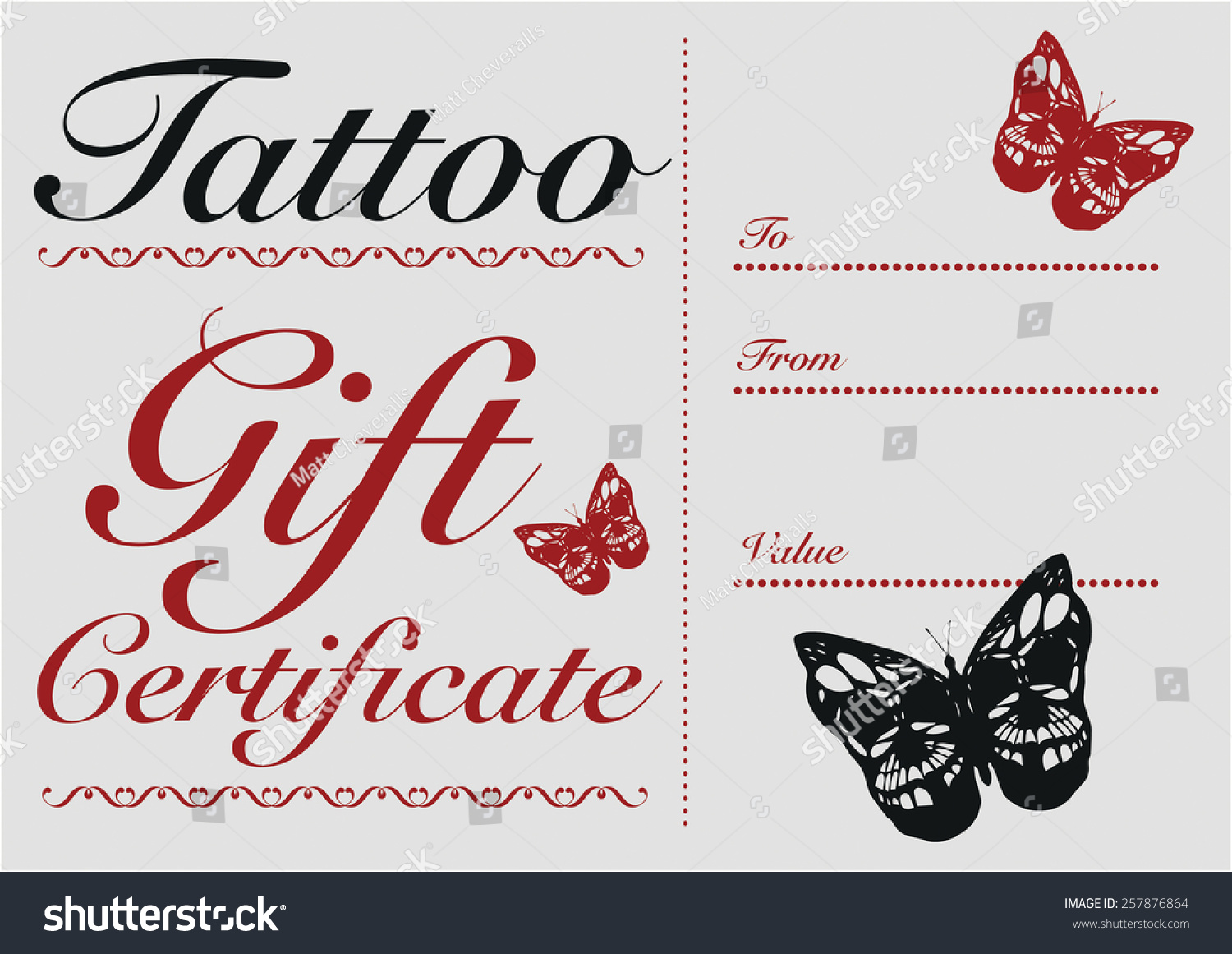 butterfly skull tattoo gift card and gift certificate template
