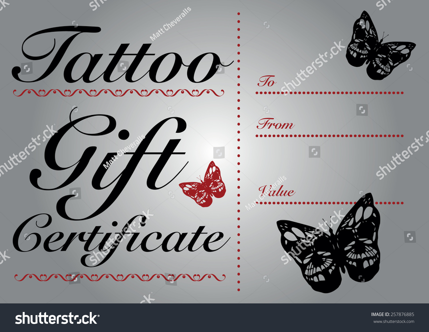 butterfly skull tattoo gift card gift stock vector