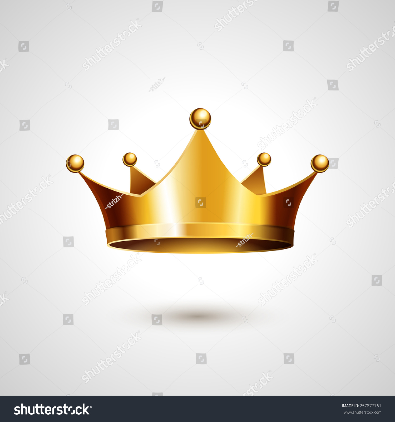 Gold Crown Isolated On White Background Vector Illustration