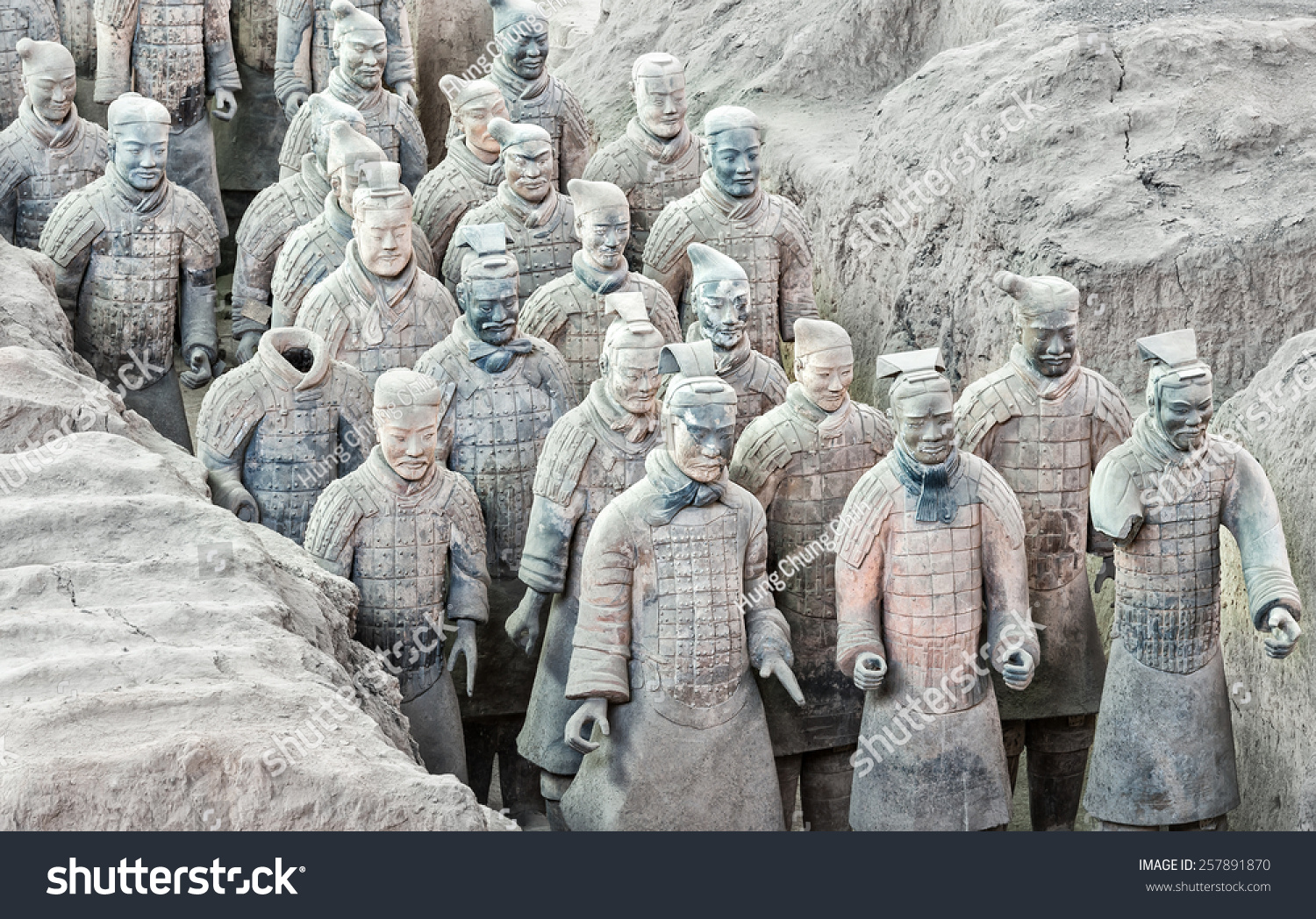 XIAN APRIL 9 exhibition of the famous Chinese Terracotta Warriors on April 9 2014 in Xian China The terracotta warriors are made in 210-209 BCE to protect the emperor in his afterlife