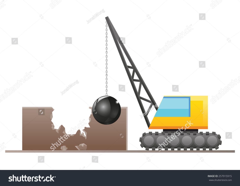 Wrecking Ball Building : Crane wrecking ball destroying building structure stock