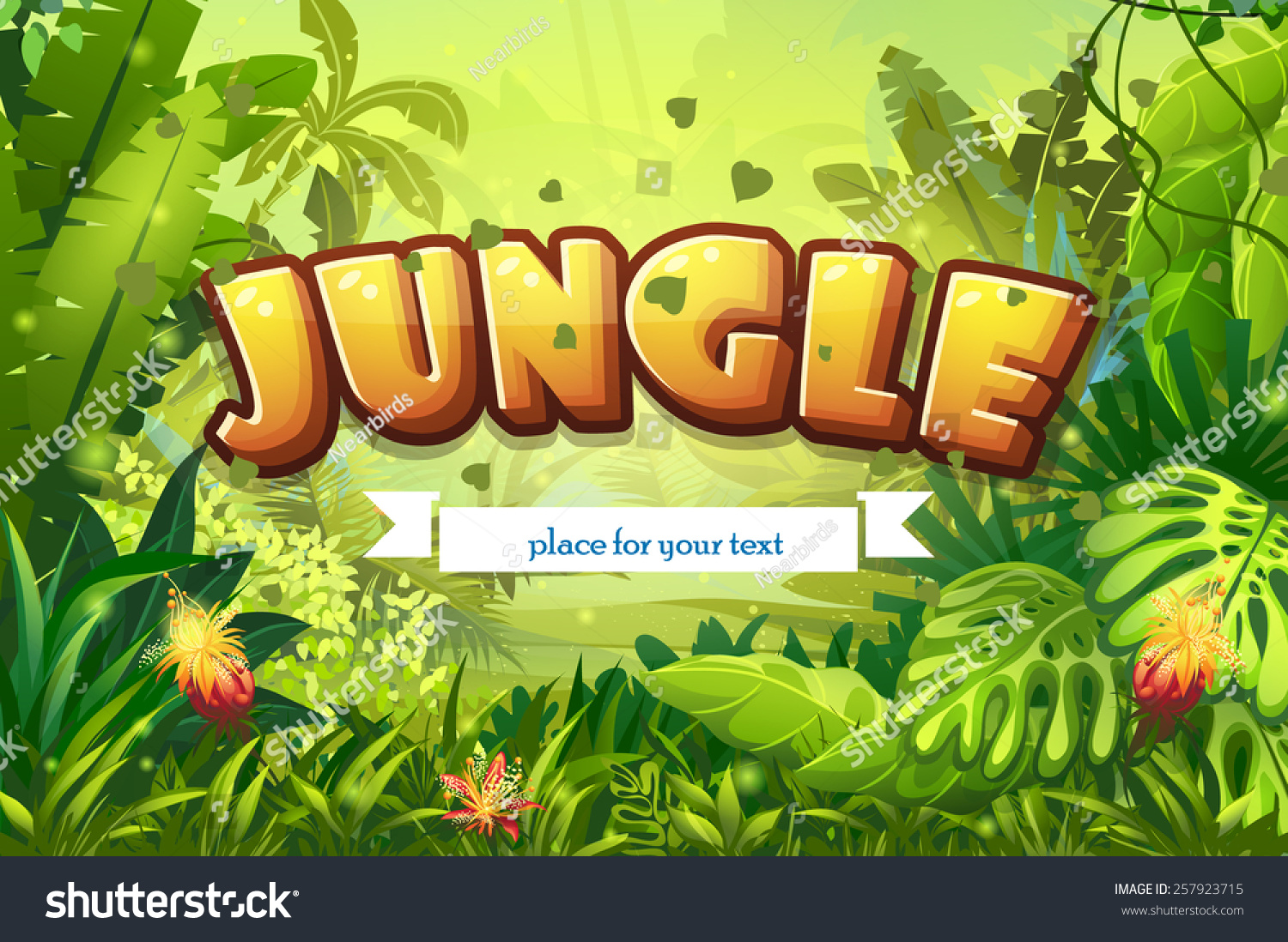illustration cartoon jungle with inscription and ribbon for your text