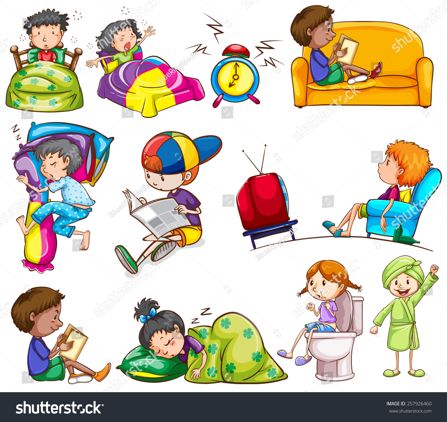 Daily Activities Kids On White Background Stock Vector