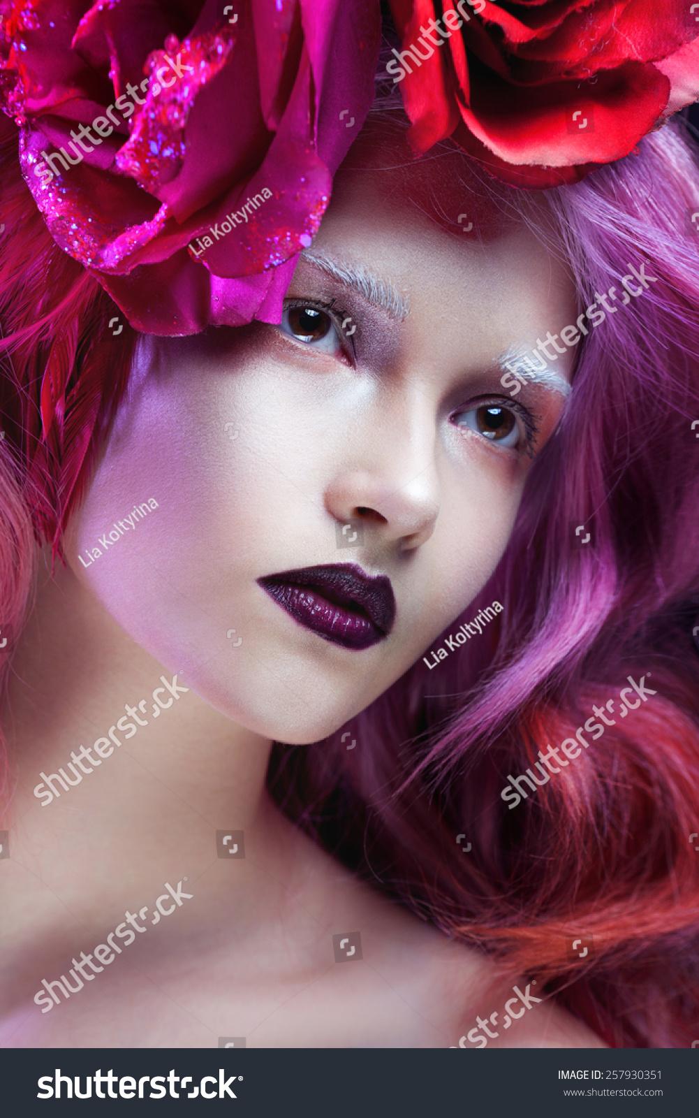 Beautiful girl pink hair flowers hair stock photo 257930351 beautiful girl with pink hair flowers in the hair izmirmasajfo Gallery