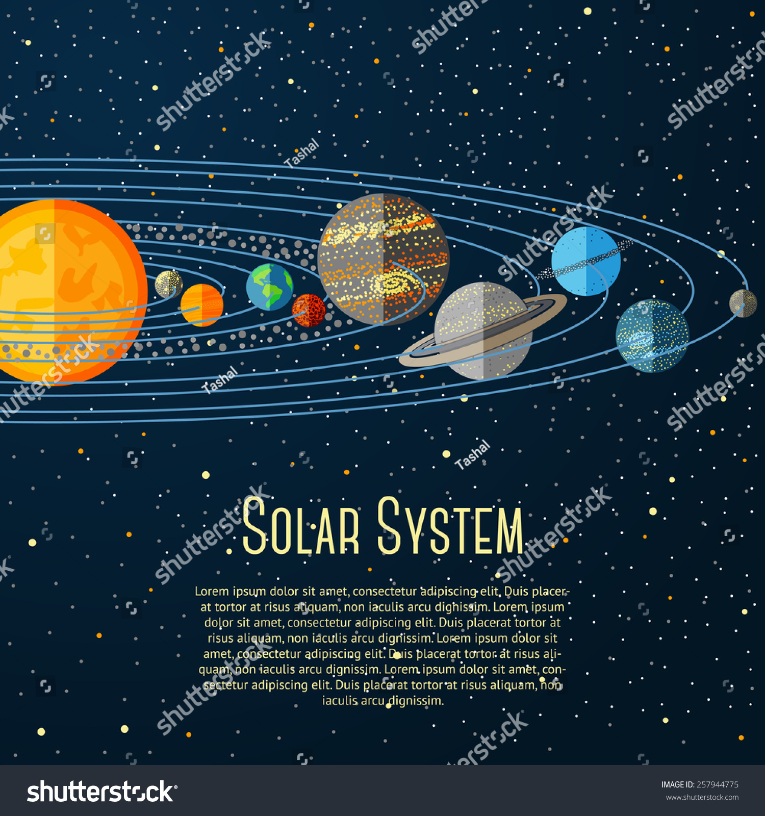 Solar System Banner With Sun, Planets, Stars. Vector ...