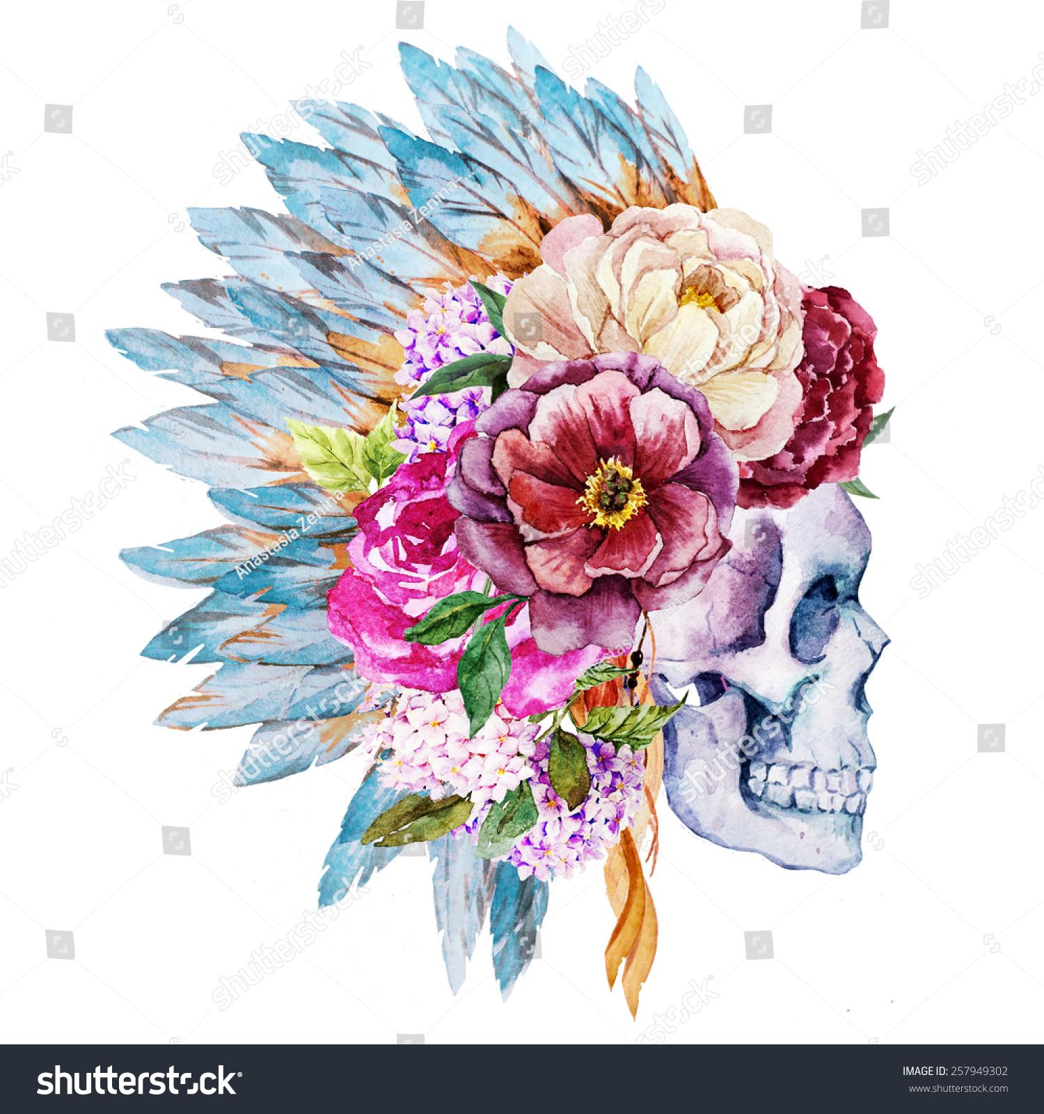 Watercolor Skull Feathers Flowers Head Stock Illustration Shutter