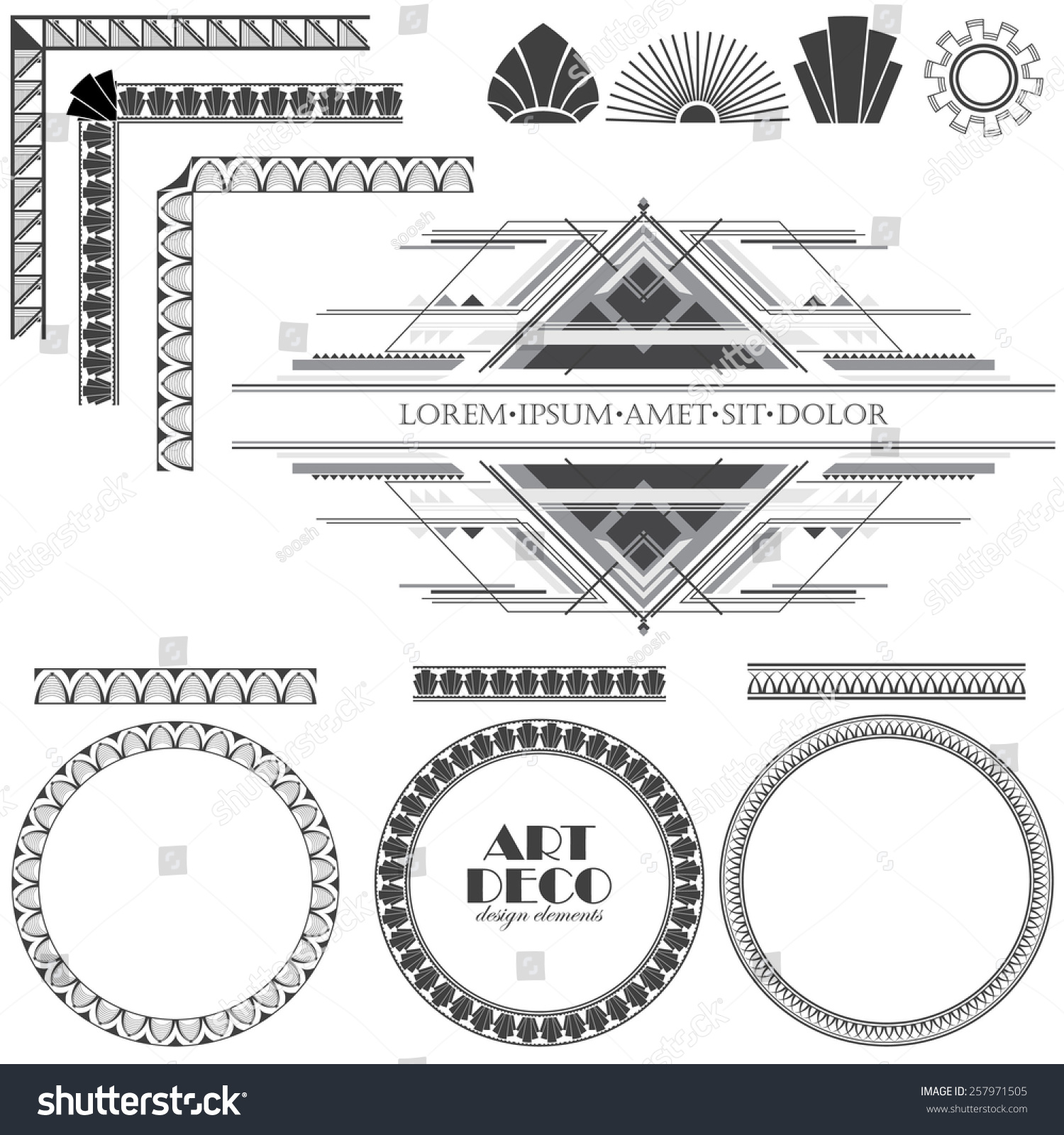 Art deco ornaments - Vector Illustration Of An Art Deco Ornaments And Frame Templates For Invitation Wedding And Other
