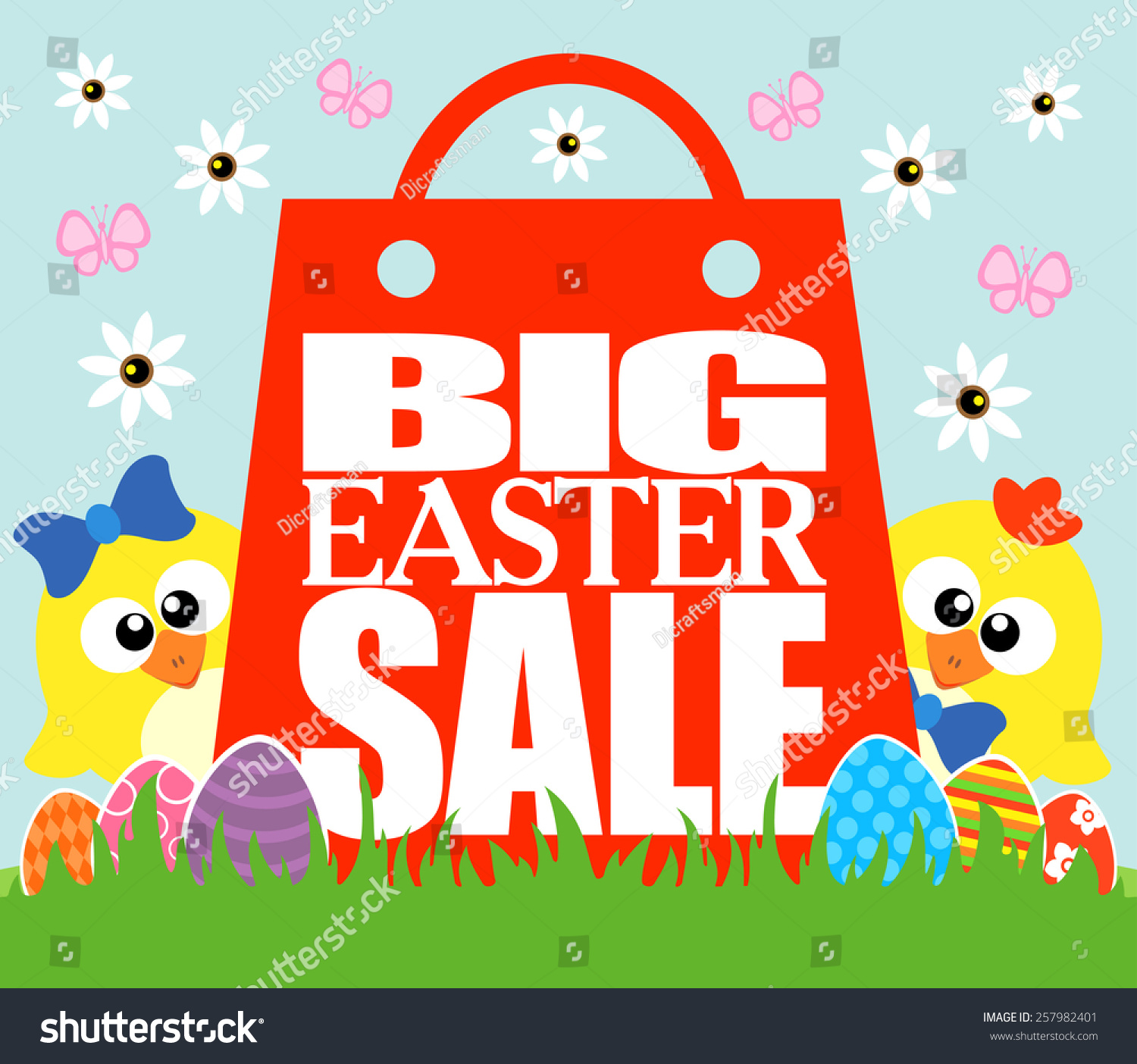 Easter Sale: Big Easter Sale Card, Funny Chickens Stock Vector