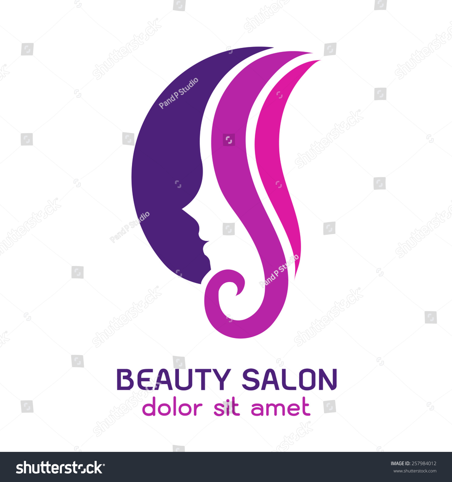 Womans face circular shape abstract design stock vector for Abstract beauty salon