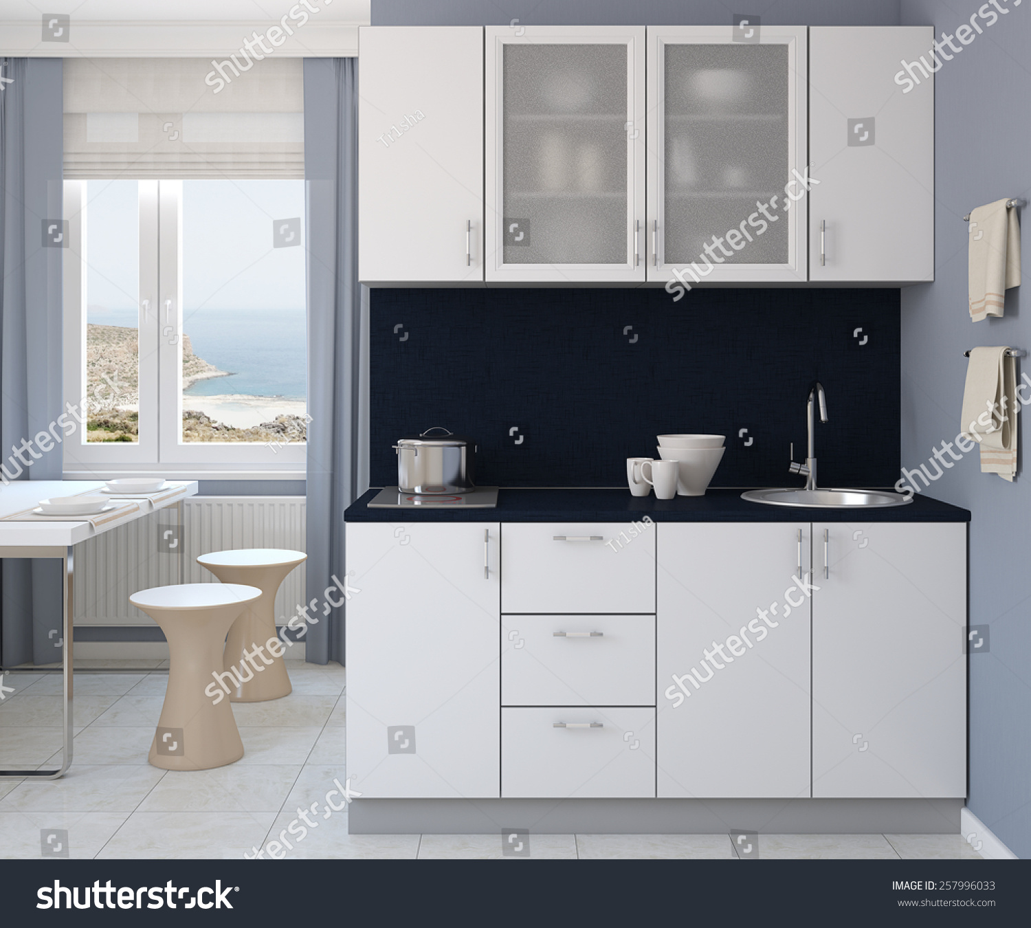 Traditional White Kitchen Design 3d Rendering: Modern Small White Kitchen 3d Render Stock Illustration