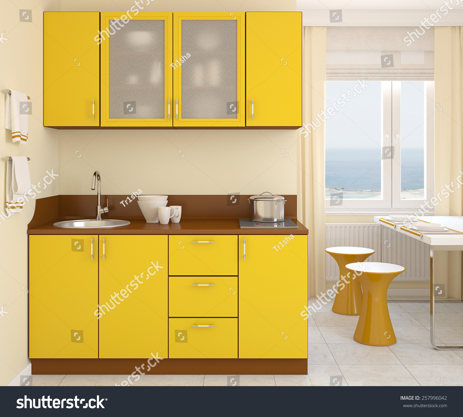 modern small yellow kitchen 3d render photo behind the window was