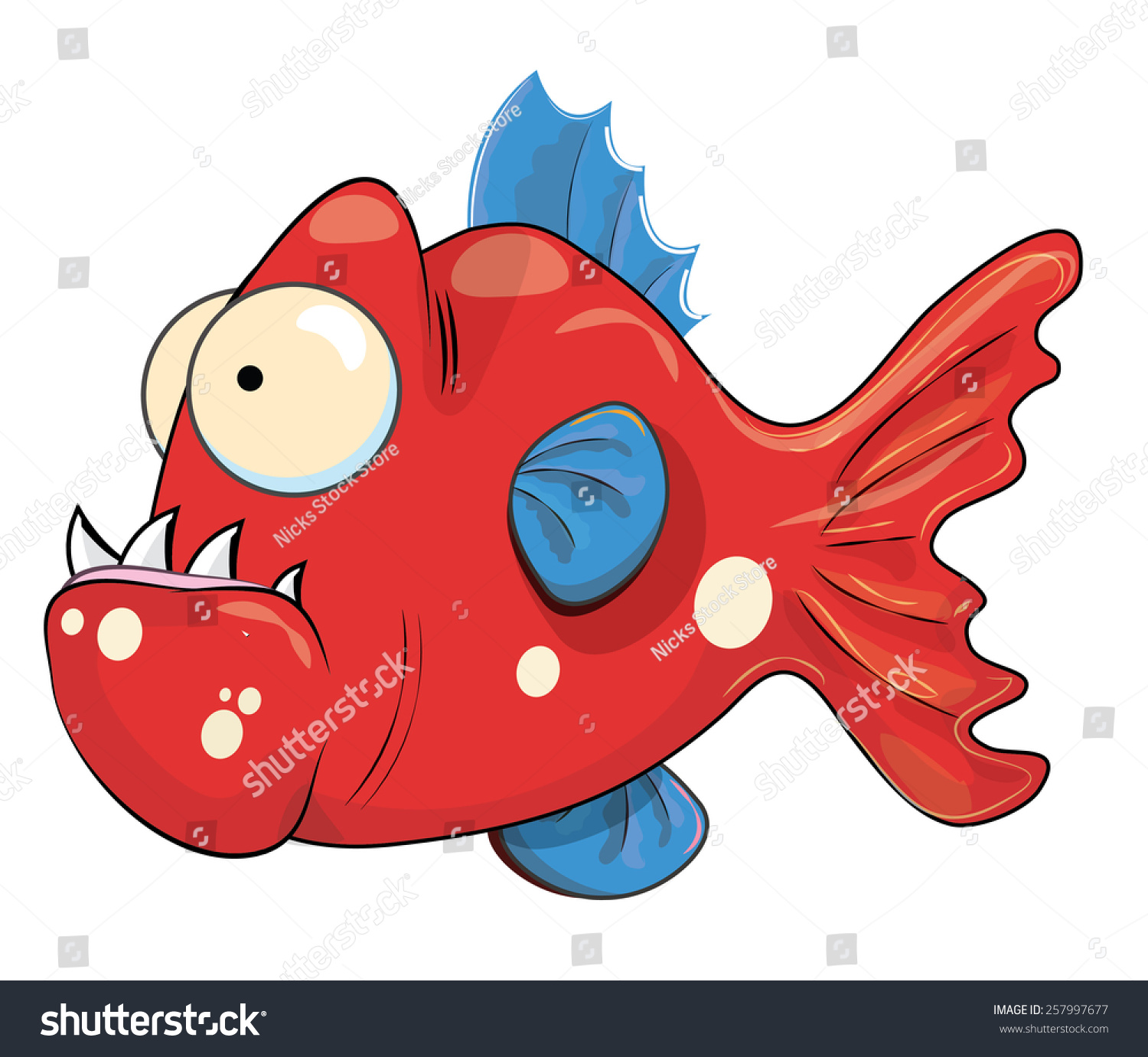 This Cute Small Piranha This Fish Stock Illustration 257997677 ...
