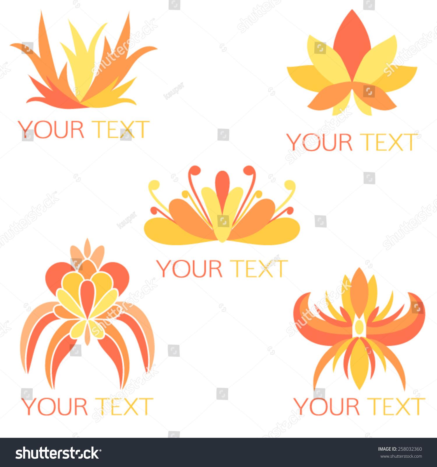 Set 5 Orange Yellow Feminine Logos Stock Vector Royalty Free