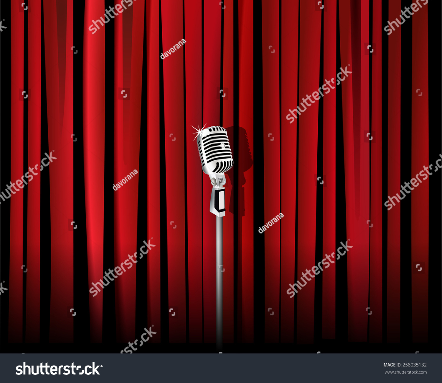 Red stage curtain with lights - Theater Curtains Backdrops Empty Stage Curtains With Lights Vintage Metal Microphone Against Red Curtain Backdrop