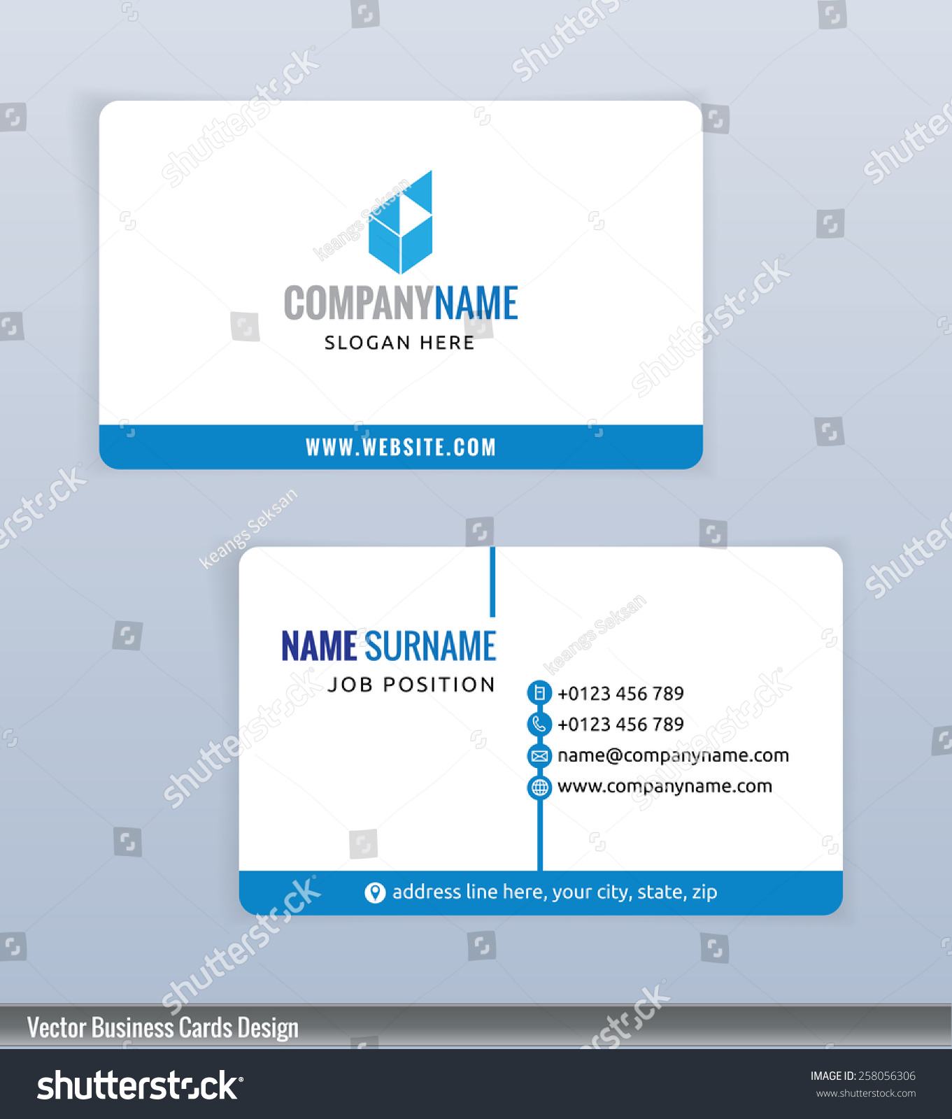 Modern Creative Blue White Business Card Stock Vector 258056306 ...