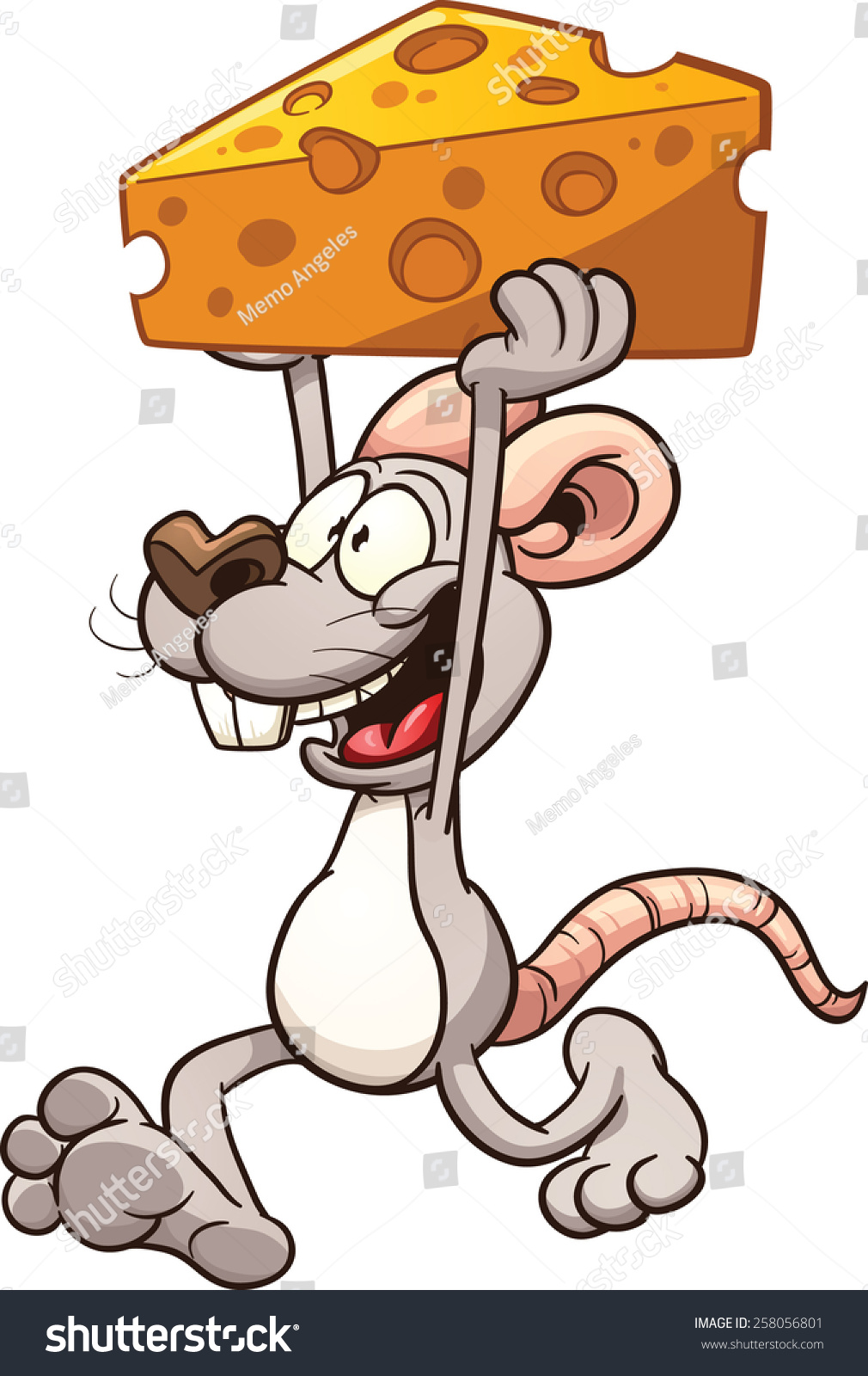 Simple Mouse Halloween Costume: Cartoon Mouse Carrying Big Piece Cheese Stock Vector