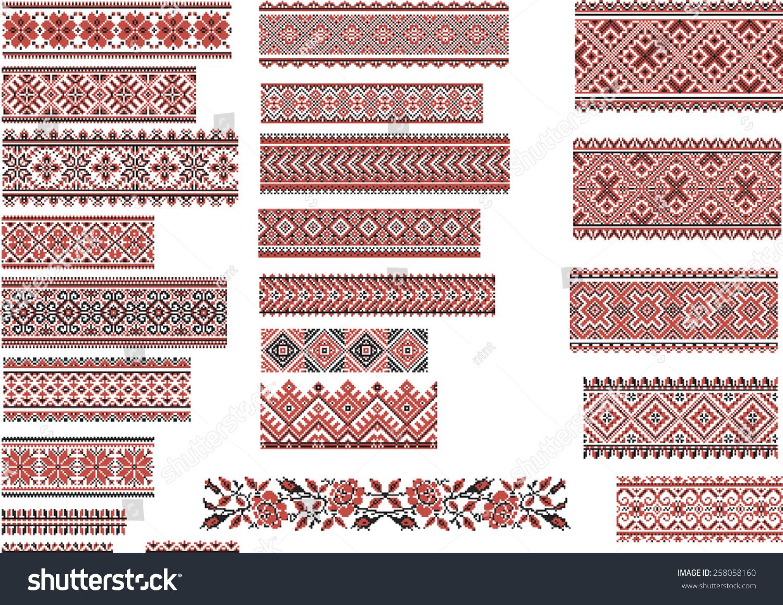 Set ukrainian ethnic patterns embroidery stitch stock