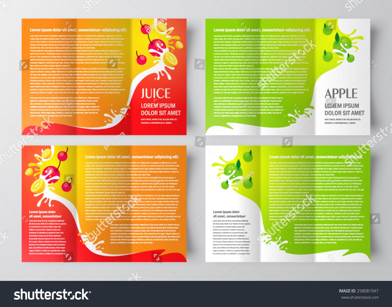 apple brochure templates - brochure design template juice fruit drops liquid orange