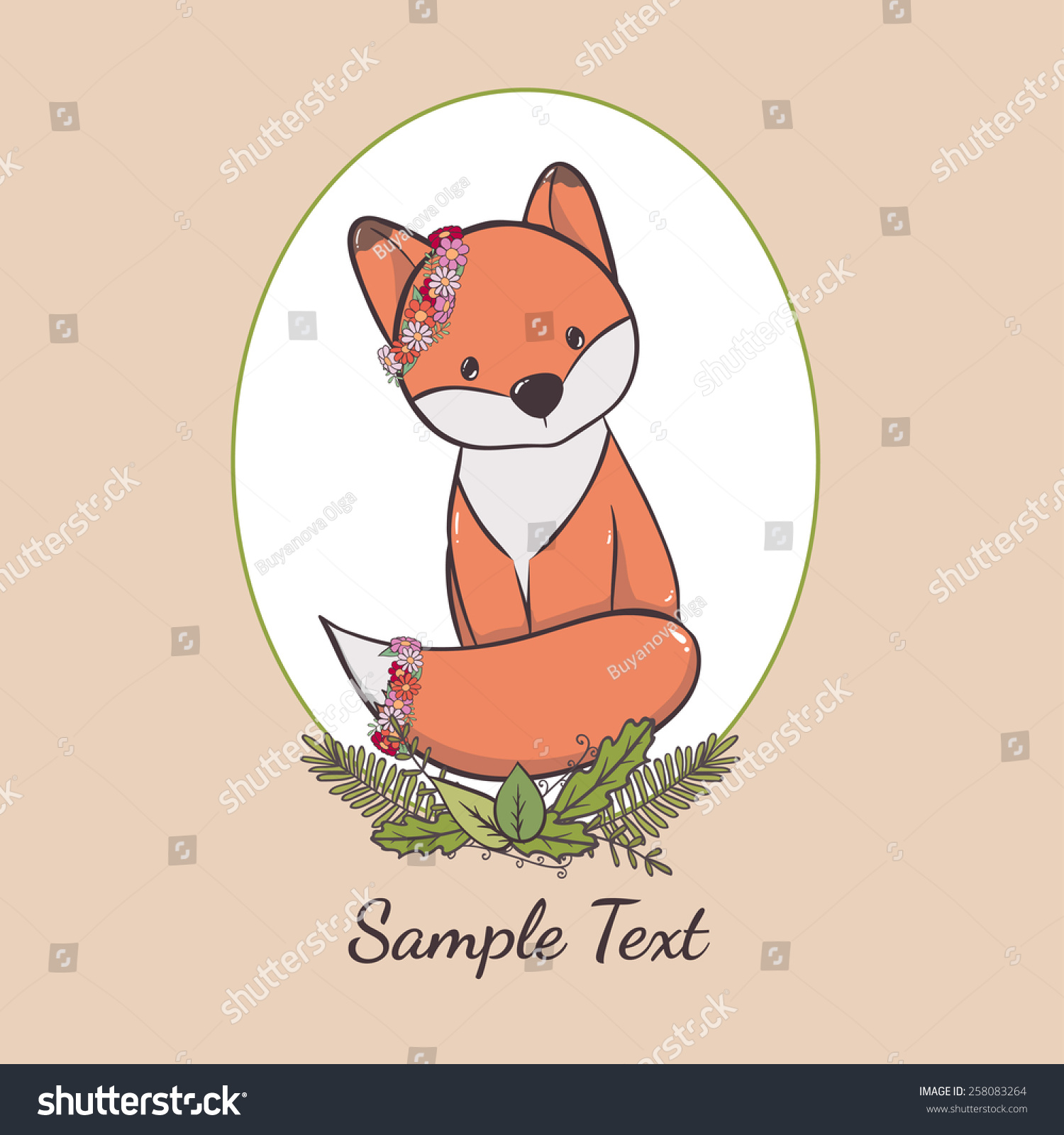 Cute Cartoon Fox Can Be Used Stock Vector Shutterstock