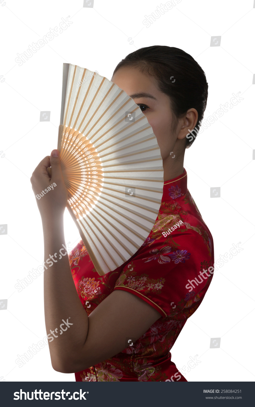 426c84f79 Young Asian women with Chinese traditional dress Cheongsam and hole Chinese  Fan isolated on white background
