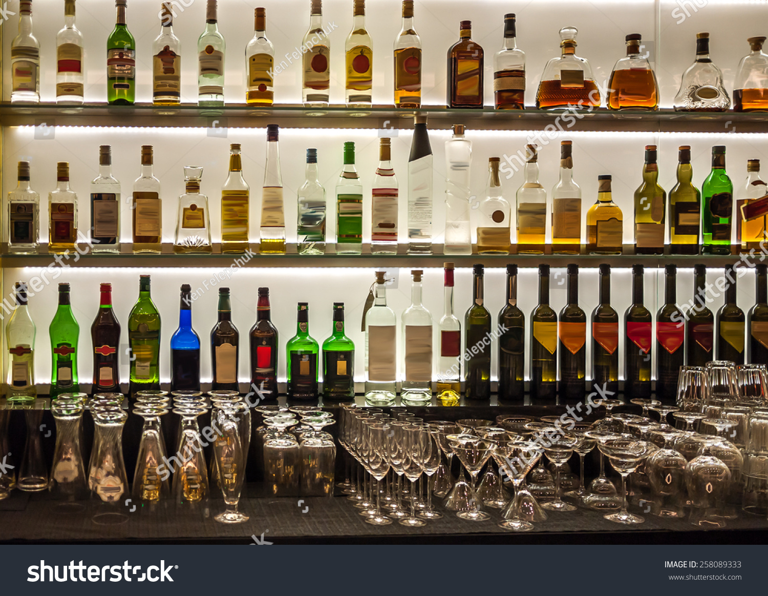 Backlit Bottles Glassware Behind Bar Known Stock Photo (Edit Now ...