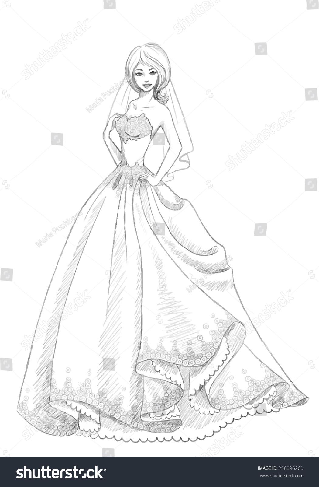 Beautiful Bride Vector Sketch Princesssilhouette Wedding ...