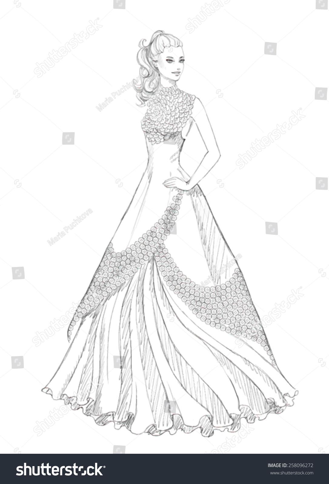 Beautiful Bride Vector Sketch Asilhouette Wedding Stock ...