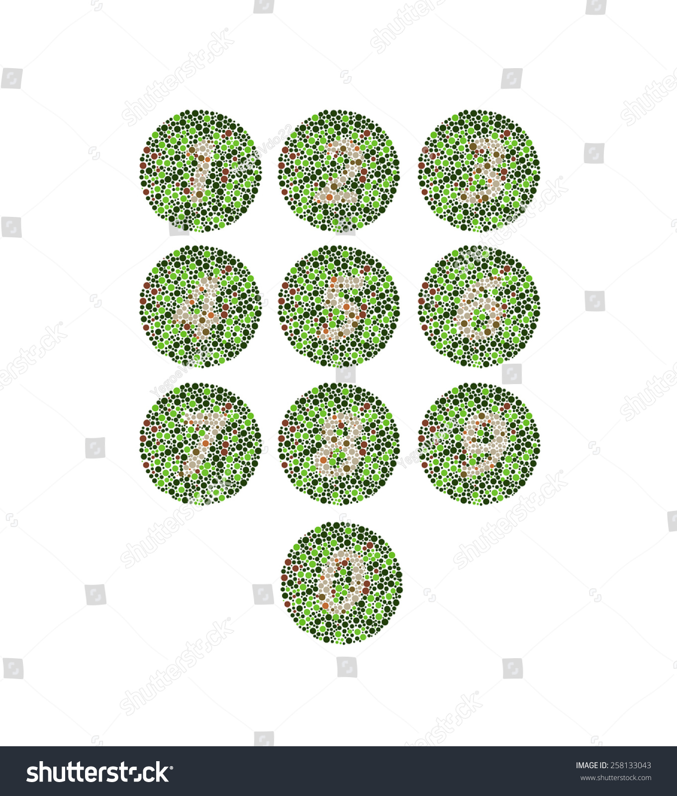 Colorblind Numbers Illusion Vector Stock Vector 258133043 - Shutterstock