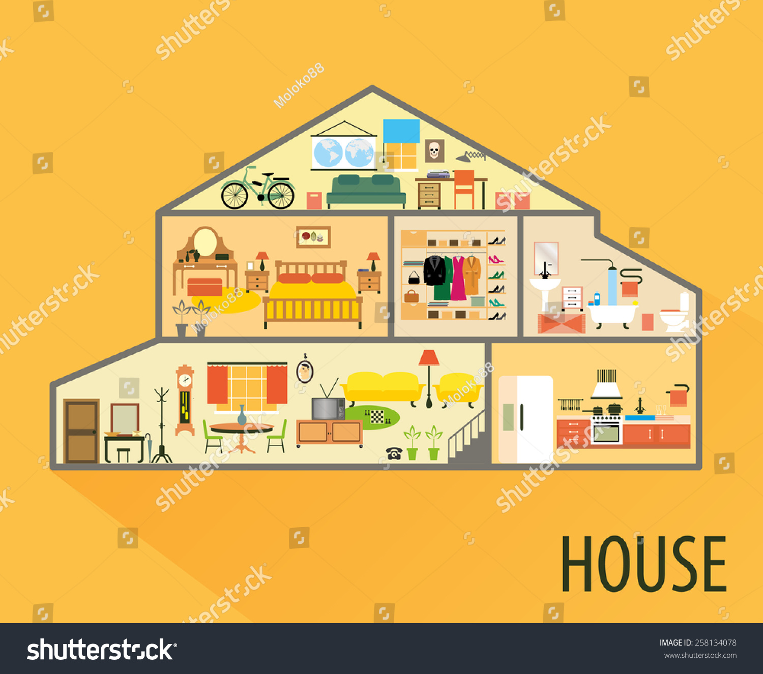 House Cartoon Interior Cartoon Living Rooms Stock Vector Royalty