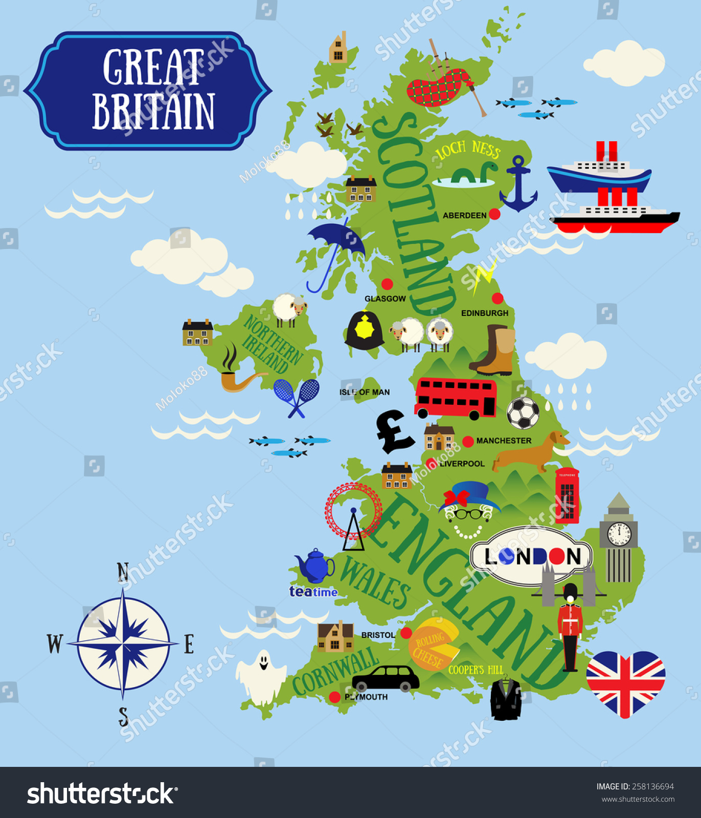 stock vector cartoon maps of britain for child 258136694
