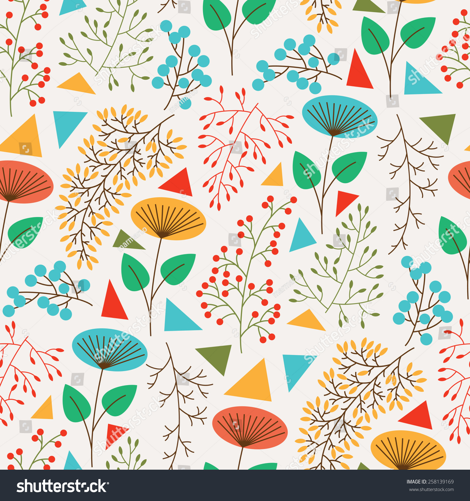 seamless pattern cute plants geometric figures stock vector