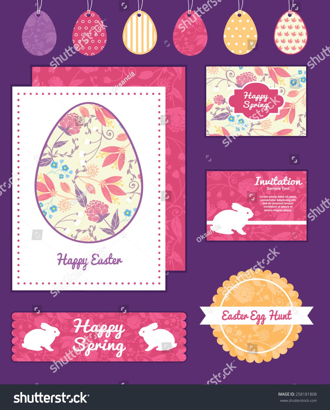 Vector Fresh Field Flowers Leaves Set Vector 258181808 – Sample Easter Postcard Template