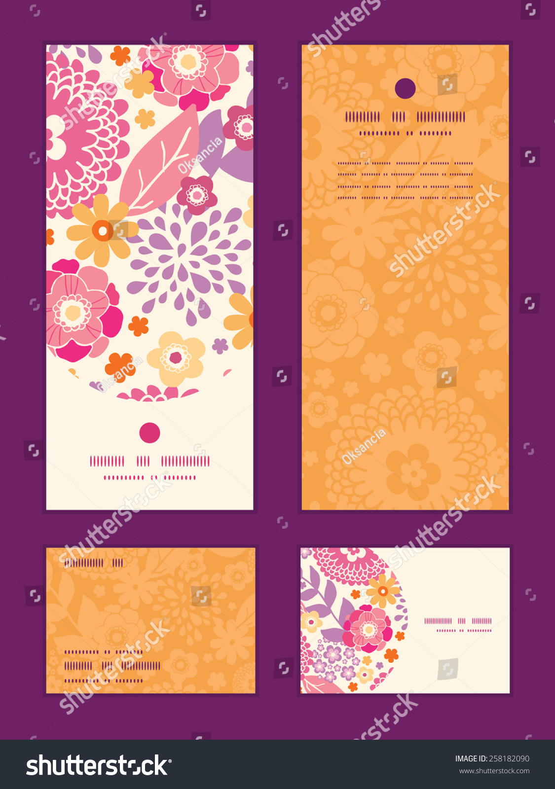 Vector Colorful Oriental Flowers Vertical Frame Pattern Invitation