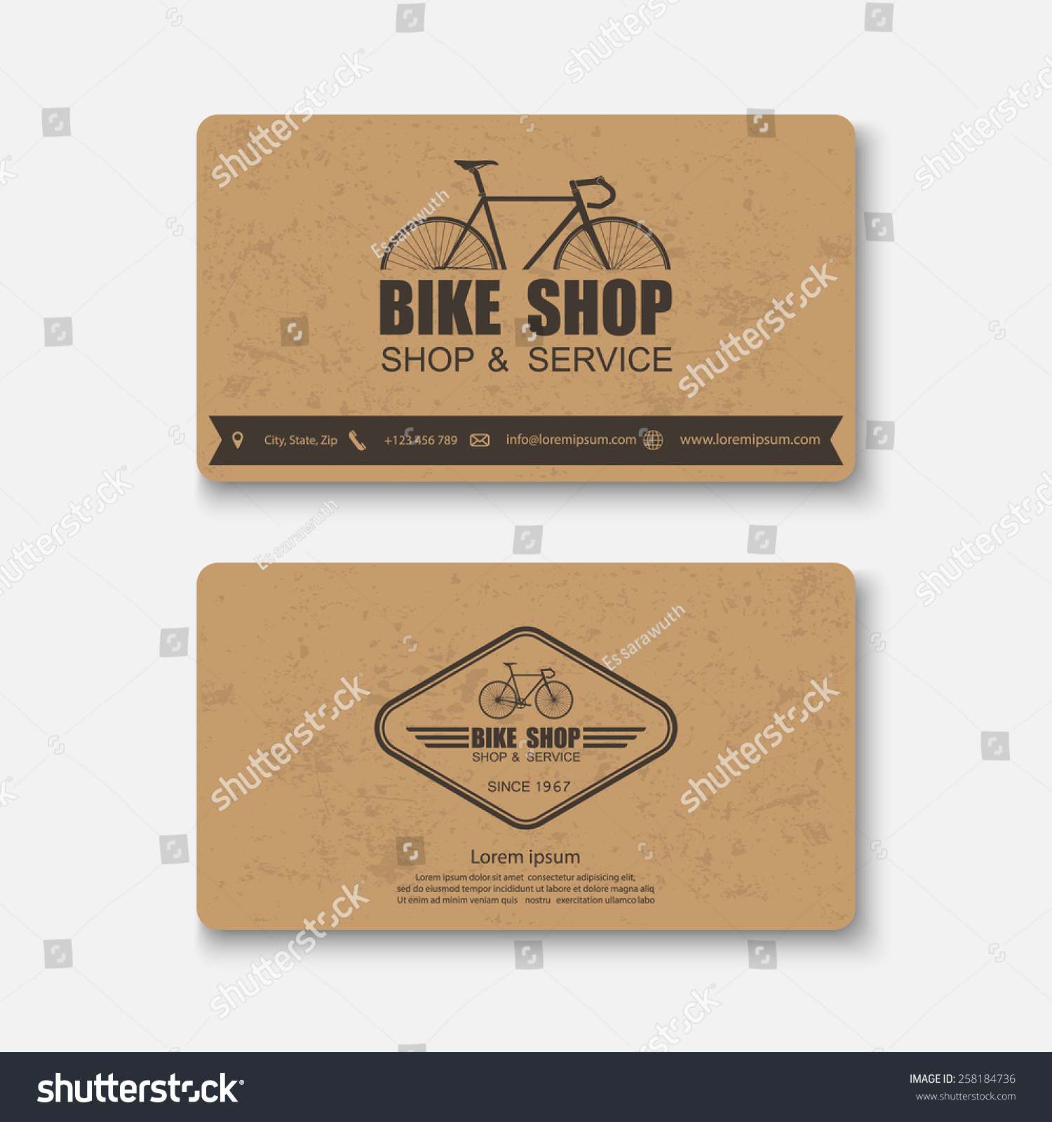 Business Card Bicyclevector Stock Vector 258184736 - Shutterstock